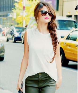 blouse white selena gomez sunglasses brunette tank top