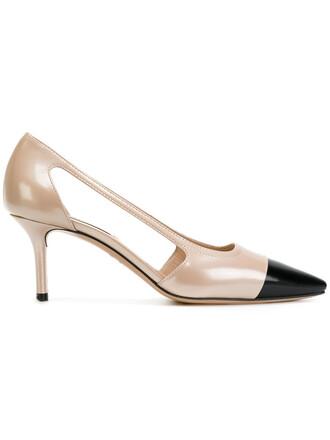 cut-out women pumps leather purple pink shoes