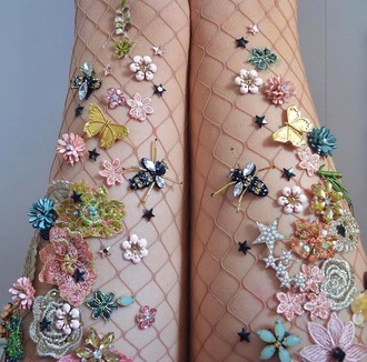 leggings floral fishnets floral crystal fishnet tights fishnet stcokings pink loose knit fishnets
