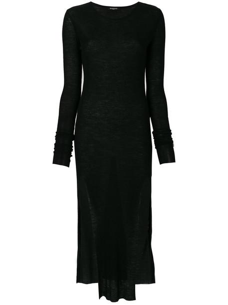 dress midi dress women midi black wool