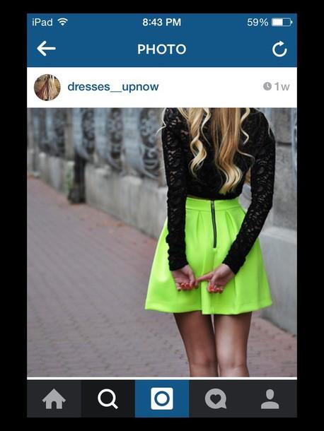 skirt neon yellow mini skirt zipper-back