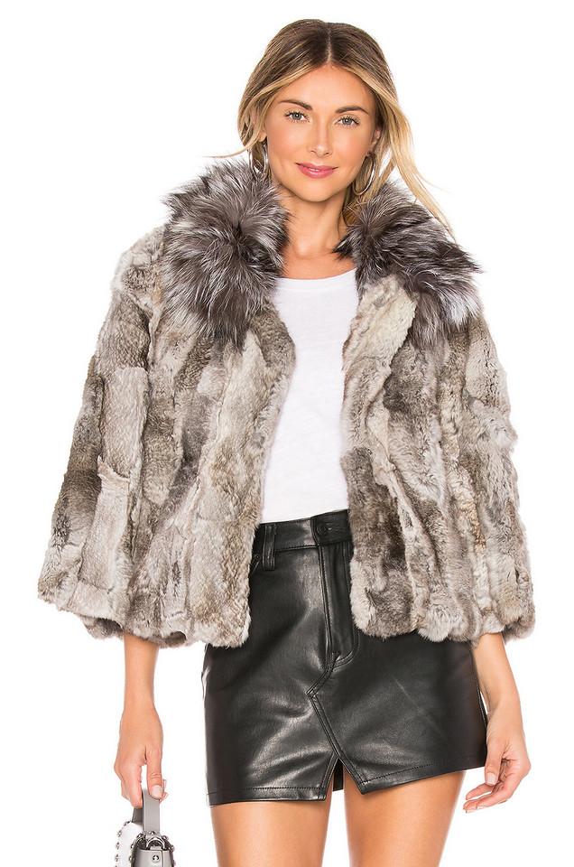 Adrienne Landau Fur Collar Rabbit Jacket in gray