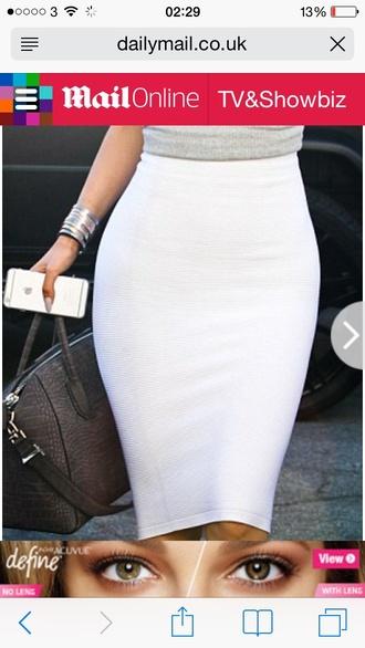 skirt pencil skirt white bodycon