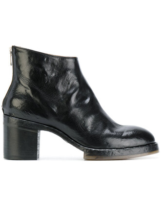 women boots ankle boots leather black shoes