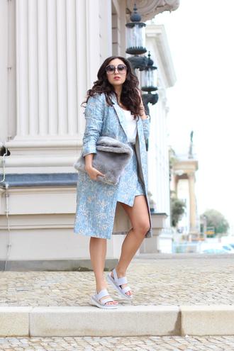 samieze blogger coat skirt bag jewels sunglasses furry bag sandals trench coat