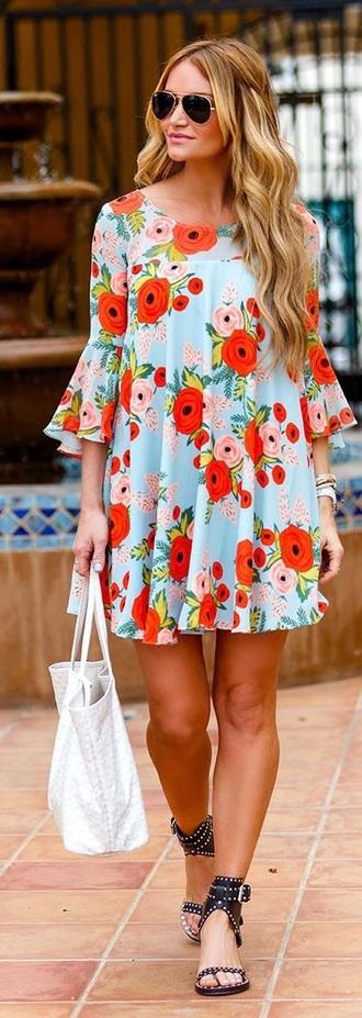 dress quarter sleeve blue floral dress