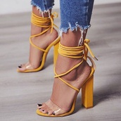 shoes,yellow,heels,yellow shoes,cute,mustard,clear,strappy,strappy heels,sandals,high heel sandals,sandal heels,tie up heels,block heels,mustard yellow heels,clear strap,chunky heel,ankle strap,neon yellow heels