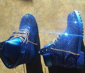 shoes,timberlands,blue,glitter,tumblr,trendy,girly,tumblr shoes,sparkle,boots