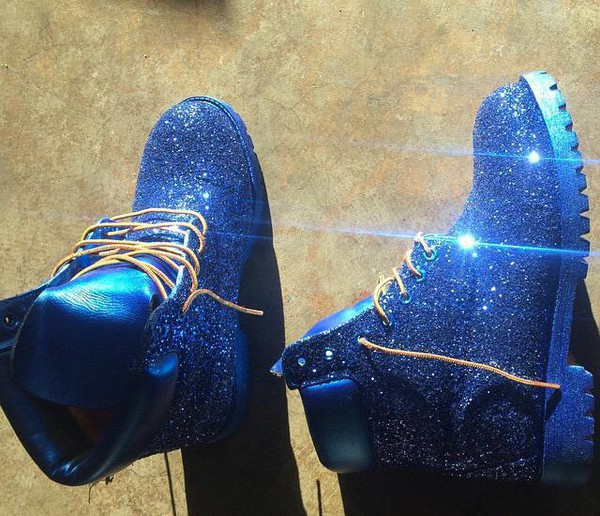 Shoes Timberlands Blue Glitter Tumblr Trendy Girly