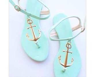shoes light blue sandals anchor mint pastel summer light delicate aqua coral anchors mintgreen heels trendy