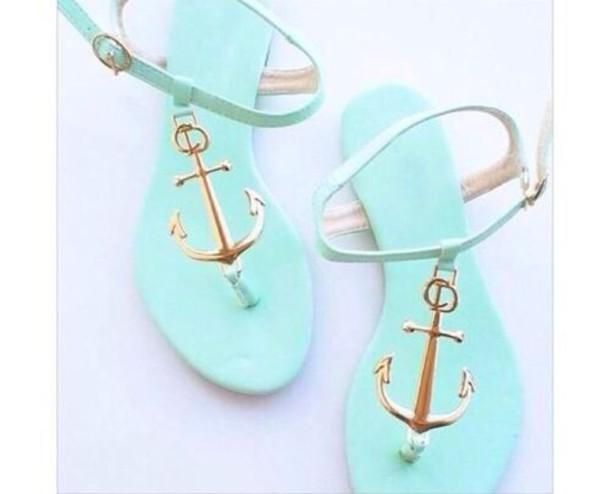 Shoes light blue sandals anchor mint light delicate coral anchors mint mintgreen heels - Light blue and mint green ...