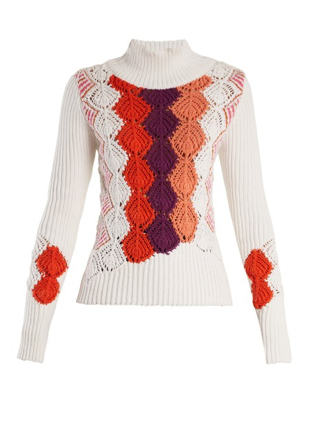 Peter Pilotto sweater cotton knit crochet white