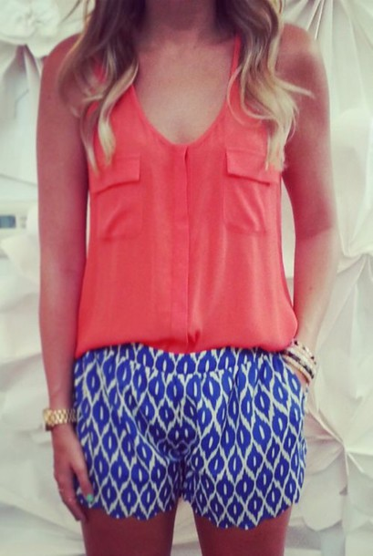 shorts style t-shirt blue shirt blue dress fashion trendy cool preppy