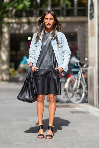 dress pocket dress black dress black leather dress leather dress jacket denim jacket blue jacket sandals sandal heels high heel sandals black sandals bag black bag streetstyle