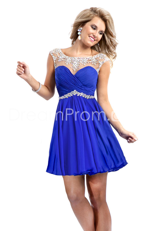 Us $99.99 2014 cute homecoming dresses short/mini rulffled&beaded chiffon dark royal blue