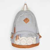 bag,grey,white,brown,zip,backpack,floral,a gray canva backpack with a whiter lace on the zipper,denim backpack,lace backpack,blue and white,kimichiblue,lace,hipster,back to school,retro,sac à dos,greybag