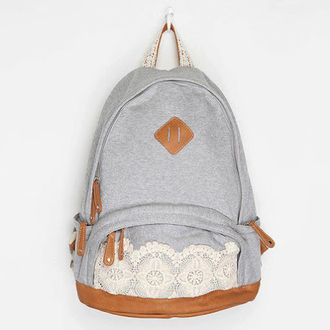 bag grey white brown zip backpack floral a gray canva backpack with a whiter lace on the zipper denim backpack lace backpack blue and white kimichiblue lace hipster back to school retro sac à dos greybag