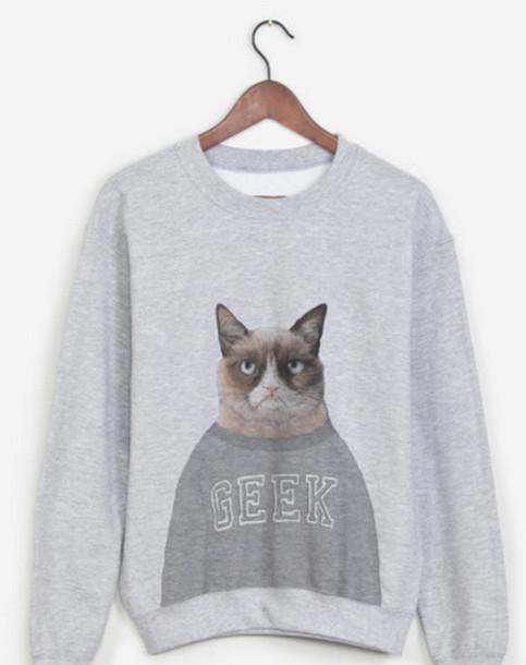 sweater sweatshirt grey sweater grumpy cat cats funny geek