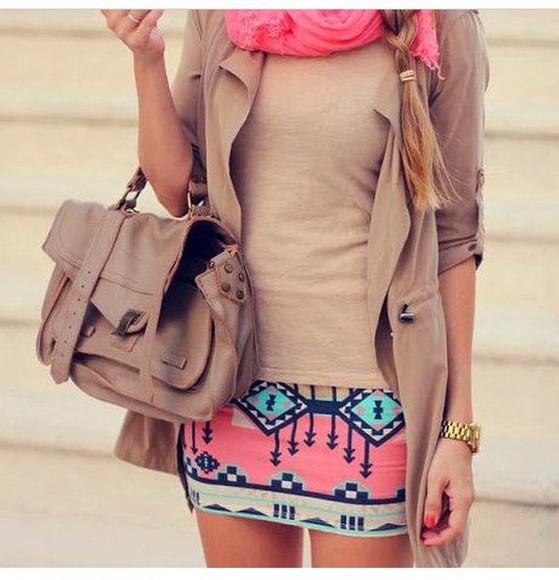 color skirt inca inca print