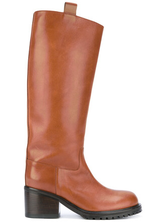 knee-high boots high women boots leather brown shoes