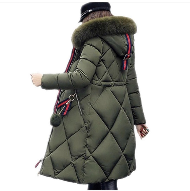 coat green fur hood cute