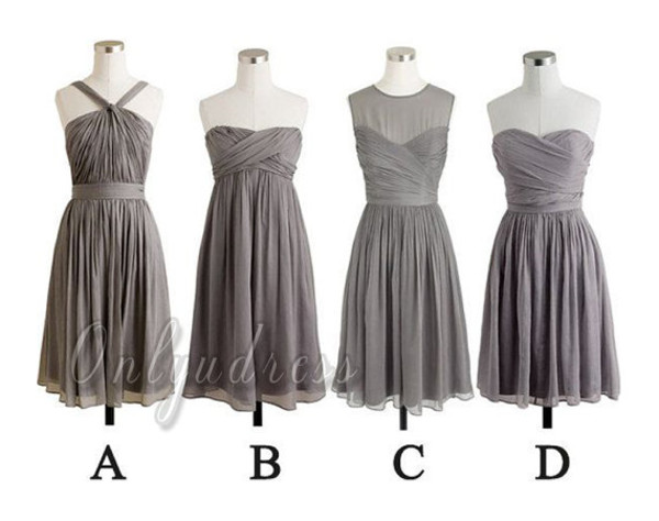 grey bridesmaid gray bridesmaid chiffon bridesmaid short bridesmaid fashion women dress