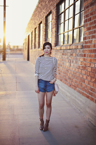 fresh fizzle blogger striped top denim shorts