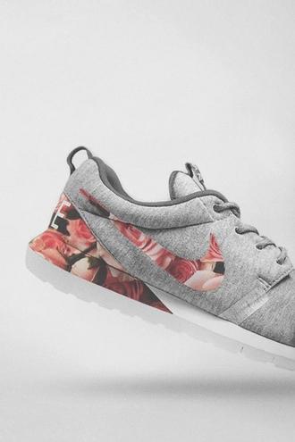 pink pink flowers floral cute shoes vintage cool nike shoes world nike shoes nike tennis shoes workout shoes workout tennis grey gry shoes most have tennis shoes