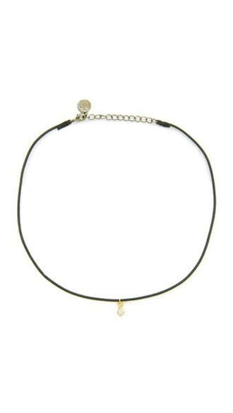 necklace choker necklace gold leather jewels