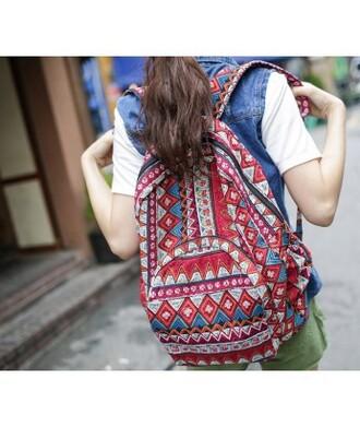 bag backpack aztec tribal pattern college trendy streetwear it girl shop vintage boho 90s style indie