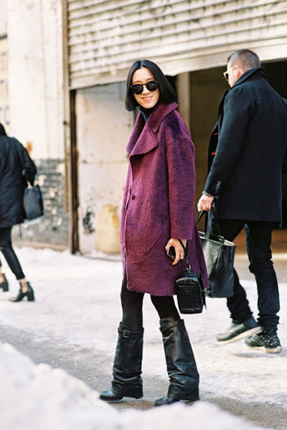 vanessa jackman blogger purple winter coat black boots