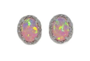 Amazon.com: 7x5mm pink opal oval diamond stud earrings .925 sterling silver rhodium finish: jewelry