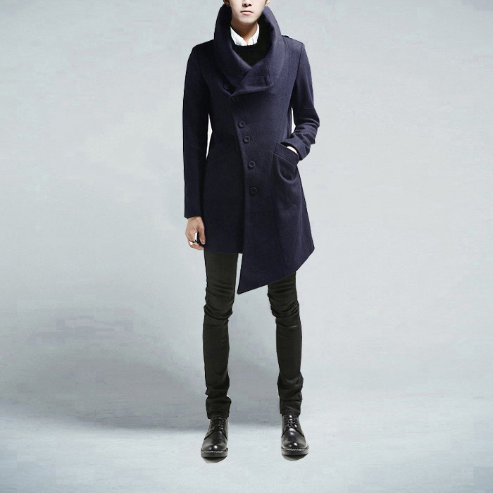 British Style Turn-down Collar Single Breasted Long Sleeves Irregular Woolen Coat For Men