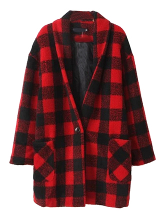 coat red-plaid-pattern v neck single-button long-sleeve