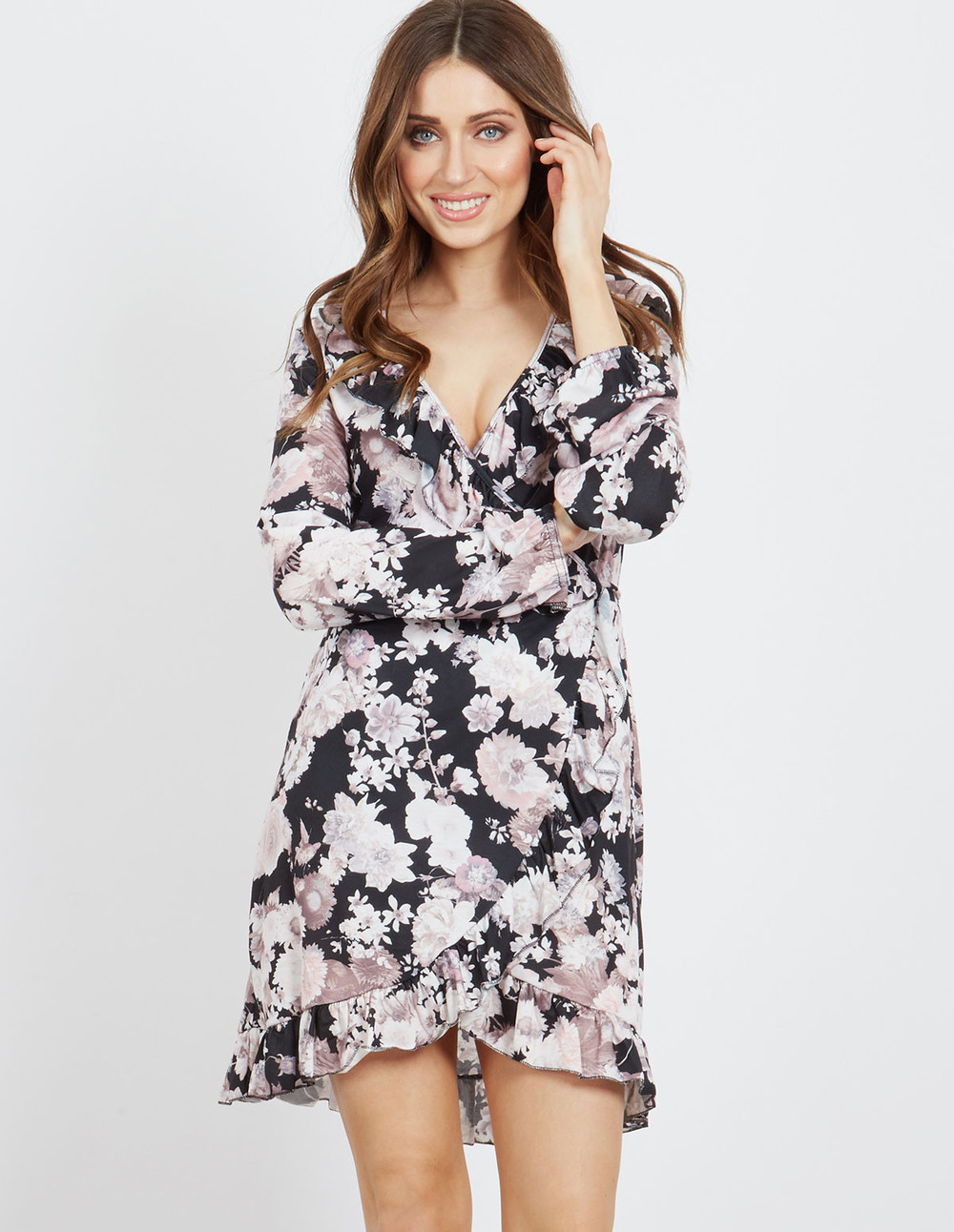 Blue Vanilla KESSA - Floral Wrap Dress in black