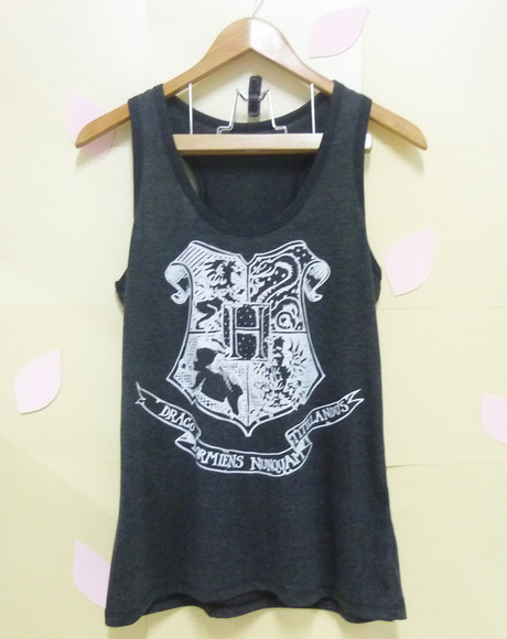 tank top singlet hogwarts logo shirt dark grey shirts women tank tops tshirts soft thirts