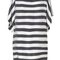 Romwe | batwing sleeves boat neck black-white striped dress, the latest street fashion