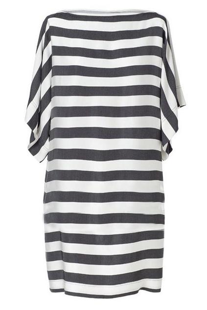 White striped dress, the latest street fashion