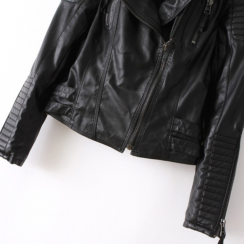 Black Long Sleeve Zipper PU Leather Jacket - Sheinside.com