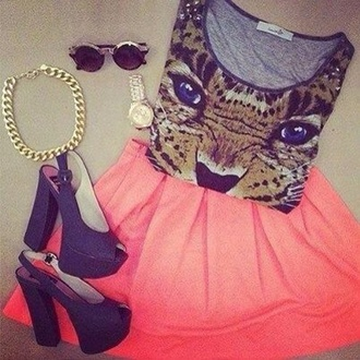 skirt shoes jewels animal face print shirt t-shirt tank top lion brown catchy hot