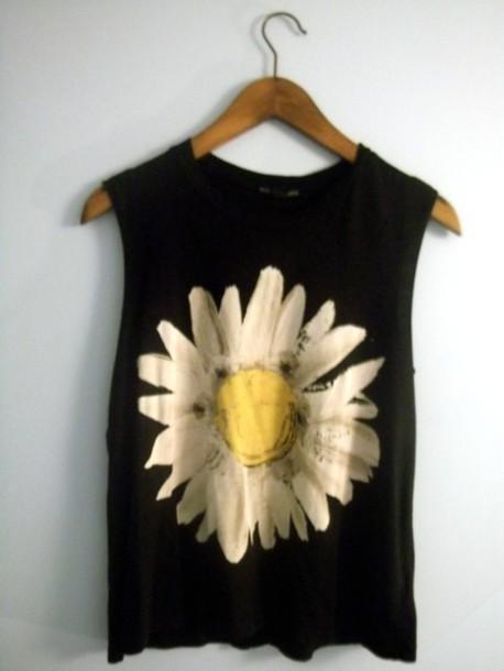 tank top flowers daisy shirt petals top black muscle tee cut offs white yellow hipster dainty sunflower t-shirt clothes skirt summer t-shirt