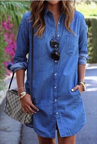 dress button up blue denim dress