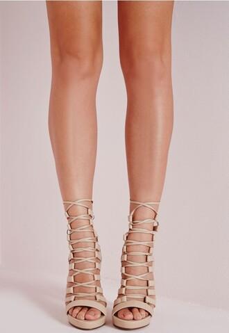 shoes lace up heels sandals nude heels high heel sandals