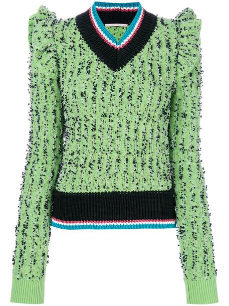 Marco De Vincenzo sweater ruffle women wool green