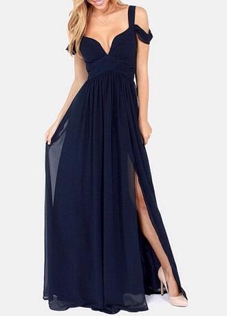 dress navy navy blue dress prom dress slit dress fashion love
