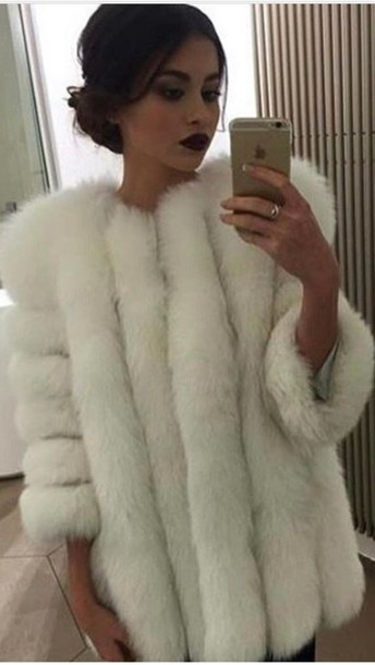 coat faux fur faux fur coat faux fur jacket white winter coat
