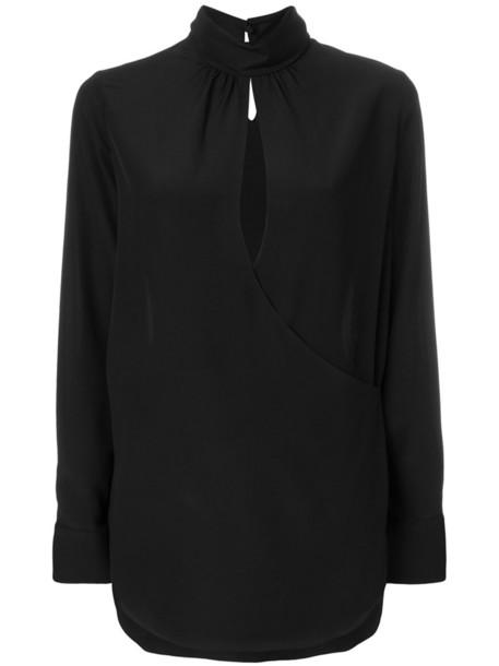 Chloe blouse women black silk top