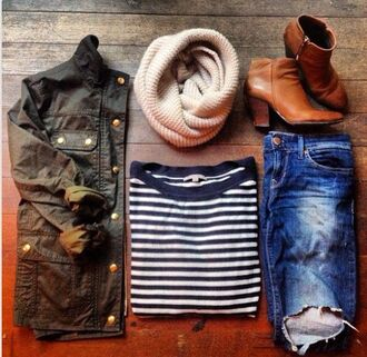 stripes top long sleeves navy blouse jeans jacket scarf shoes back to school army green jacket j crew shirt sweater