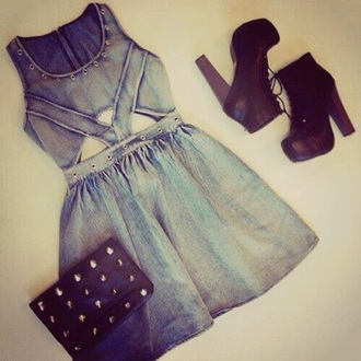 dress denim dress sweet dress black shoes shoes