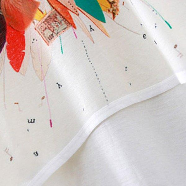 Brief Scoop Neck Bird Print High Low Short Sleeve T-Shirt For Women